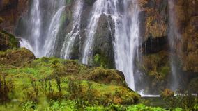 Beautiful waterfall autumn in Plitvice National Park, Croatia stock video footage