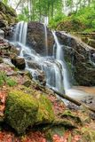 Beautiful waterfall in the beech forest stock photos