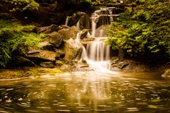 beautiful waterfall with blurry water in the garden. stock photography