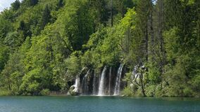 Beautiful waterfall cascade scenery of Plitvice Lakes, Croatia. Nature landscape of Plitvice Lakes National Park is