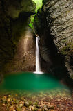 Beautiful waterfall in a cave. Kozjak cascade, Alpine Slovenia, Central Europe Stock Photography