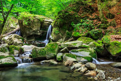 Beautiful waterfall comes out of a huge rock in the forest. Incredibly beautiful and clean little waterfall with several cascades over large stones in the forest Royalty Free Stock Photography