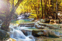 Beautiful waterfall in the deep forest stock photo