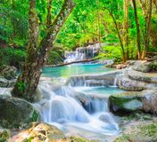 Beautiful waterfall in deep forest royalty free stock images