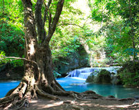 Beautiful Waterfall at Erawan National Park Royalty Free Stock Photography