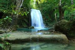 Beautiful  waterfall. In Erawan national park  of Thailand Stock Photos