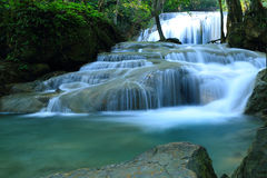 Beautiful  waterfall. In Erawan national park  of Thailand Royalty Free Stock Photography