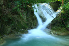 Beautiful  waterfall. In Erawan national park  of Thailand Royalty Free Stock Image