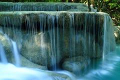 Beautiful  waterfall. In Erawan national park  of Thailand Royalty Free Stock Photo