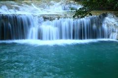 Beautiful  waterfall. In Erawan national park  of Thailand Stock Photo