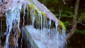 Beautiful Waterfall Flowing Down The Cliff stock video