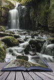 Beautiful waterfall in forest landscape long exposure flowing th stock photos