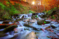 Beautiful waterfall in forest at sunset Royalty Free Stock Photography