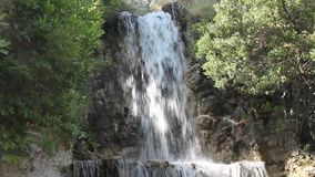 Beautiful waterfall in forest, water cascate natur stock video
