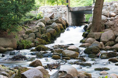 Beautiful waterfall in Gdansk Oliwa, Poland. Royalty Free Stock Images