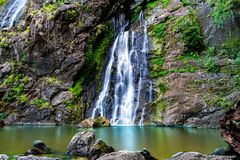 Beautiful waterfall in the green forest. Great waterfall in Thailand royalty free stock photos