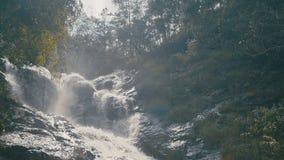 Beautiful waterfall among the greenery stock footage