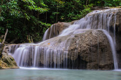 Beautiful waterfall. In Kanjanaburi Thailand (Erawan waterfall royalty free stock photo