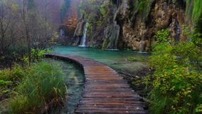 Beautiful waterfall, lakes and autumn forest in Plitvice National Park, Croatia.  stock video