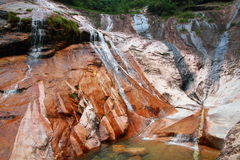 Beautiful waterfall landscape at Anhui mount Huangshan Royalty Free Stock Photos