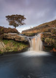 Beautiful waterfall on the moorland in yorkshire. Waterfall set high on remote moorland in yorkshire Stock Images