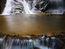 Waterfall mossy rocks. Beautiful waterfall mossy rocks Royalty Free Stock Photography