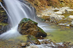 Landscape. Mountain river. Waterfall Lotrisor - Cozia National Park, landmark attraction in Romania stock images