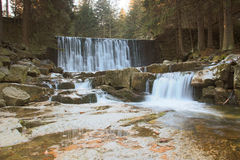 Beautiful waterfall on a mountain slope. River with cascades Royalty Free Stock Photos