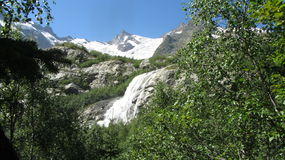 Waterfall in dombay. Beautiful waterfall in the mountains of dombay Stock Image