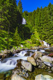 Beautiful waterfall in the mountains stock images