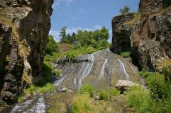 Beautiful waterfall in the mountains of Jermuk, Armenia royalty free stock images