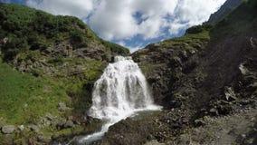 Beautiful waterfall in mountains of Kamchatka Peninsula stock video