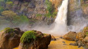 Beautiful waterfall in the mountains stock photography