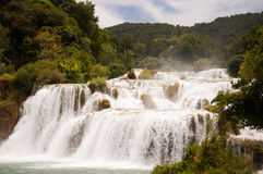 Beautiful waterfall in the National Park Krka, Croatia Royalty Free Stock Image