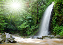 Beautiful waterfall in the National Park Tercino v. A beautiful waterfall with sun rays Royalty Free Stock Photography