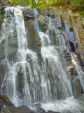 Waterfall Neozhidanniy in forest. Russia, Primorskiy kray Stock Image