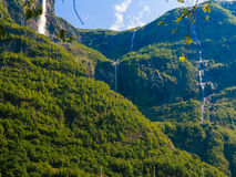Beautiful waterfall in Norway fjords Stock Photos