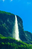 Beautiful waterfall in Norway fjords Royalty Free Stock Images
