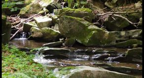 Beautiful waterfall out of rock in the forest stock video footage