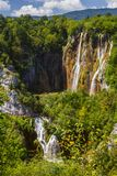 Beautiful waterfall in Plitvice Lakes National Park. Croatia stock photo