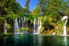 Beautiful waterfall in Plitvice Lakes National Park. Croatia stock photography