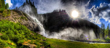 Beautiful Waterfall with sky and clouds  Stock Photography