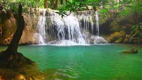 Beautiful waterfall in rain forest, Flare effect, HD 1080P stock video