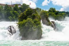 A beautiful waterfall on the river Rhine in the city Neuhausen am Rheinfall in northern Switzerland. The Rhine Falls is the larges. T waterfall in Europe stock photo