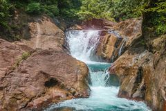 Waterfall. Beautiful waterfall with rocks, Tharn Mayom Waterfall, Koh Chang island in Trat Thailand Stock Photo