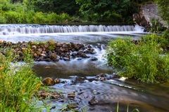 Beautiful waterfall and rocky shoals Lososyanka river, Grodno, Belarus Stock Photo