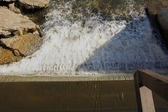 Beautiful waterfall scene from bridge top down view stock photo