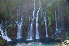 Beautiful waterfall. Scenic view of picturesque waterfalls on river Langevin, Reunion Island Royalty Free Stock Photo