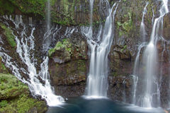 Beautiful waterfall. Scenic view of picturesque waterfalls on river Langevin, Reunion Island Stock Images