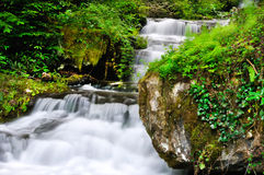 Beautiful waterfall slow motion in summer Stock Images